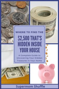 collage of pictures of coins, hundred dollar bills, money hidden under mattress and a piggy bank