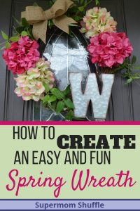 "Grapevine wreath with spring pink and white hydrangeas with a burlap bow and galvanized metal monogram ""w"" letter"