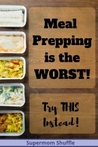 "Wooden Board with aluminum meal prepping containers with different foods with the caption ""Meal Prepping Is the Worst"""