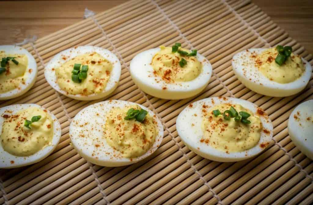 Deviled Eggs on a bamboo roller mat for Easter dinner