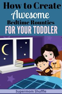 Cartoon drawing of mom reading book to little boy in bed during their bedtime routine