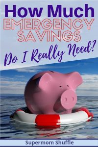 "Pink piggy bank in a life preserver on the ocean with a title of ""How Much Emergency Savings Do I Really Need?"
