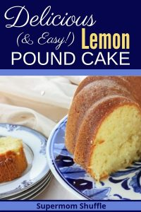 Sliced lemon pound cake on a blue and white plate
