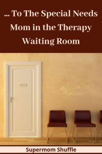 Waiting room in a medical office with a white door and brown chairs