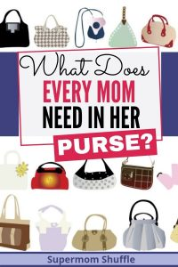 "lots of purses as cartoon images with the title of ""What Does Every Supermom Need In Her Purse?"""