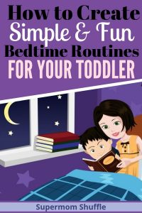 Cartoon mom and son in bed with bedtime story as part of bedtime routine