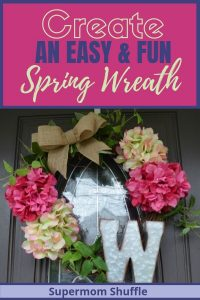 "Spring like grapevine wreath with pink and white hydrangeas, some greenery, a burlap bow and a galvanized steel ""W"" monogram"