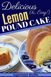 Lemon pound cake on a cake platter and sliced onto a serving plate