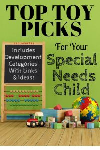 "Toys on hardood floor with a chalkboard with title of ""Top Toy Picks for Your Special Needs Child"""