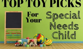 "Wooden toys and chalkboard abacus on a hardwood floor with a title block saying ""Top Toy Picks for your Special Needs Child"""