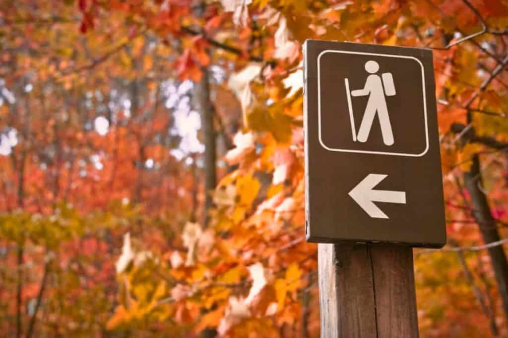 Fall foliage with a brown hike sign in the foreground