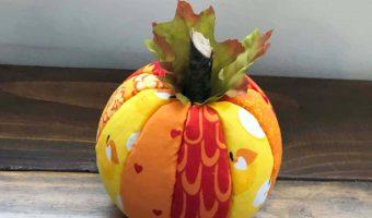 Completed Fabric Styrofoam Pumpkin Halloween Craft