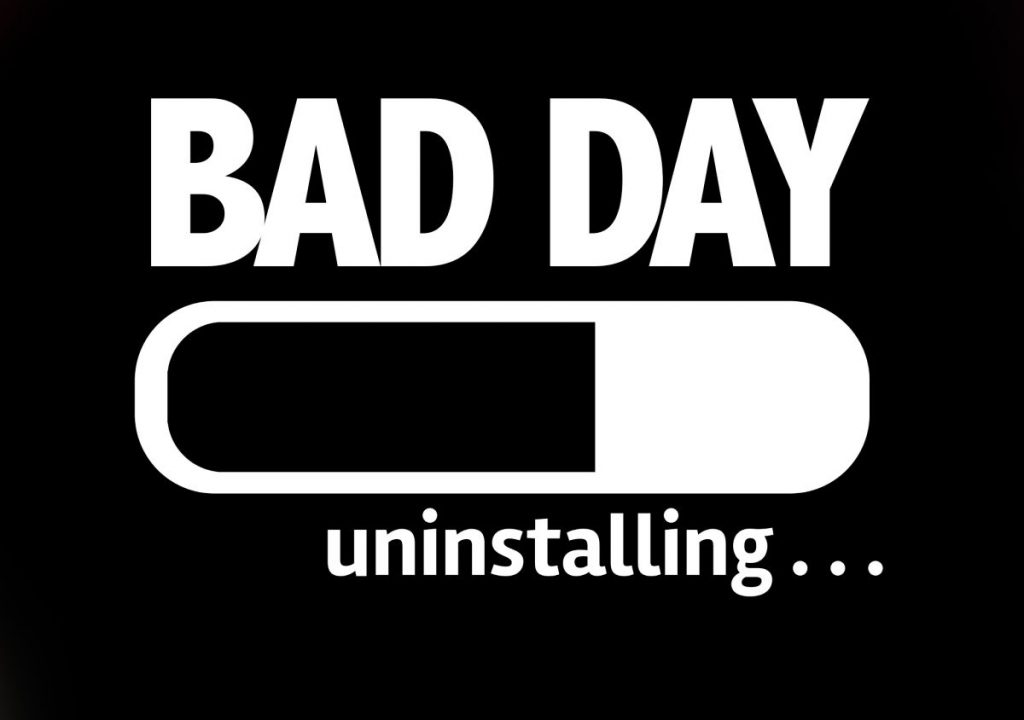 "solid black background with the words ""bad day uninstalling"" with an install bar halfway finished"
