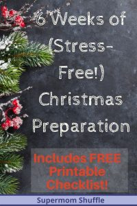 "Holly leaves and fir branches with a chalkboard blackboard that says ""6 weeks of stress-free christmas preparation"""