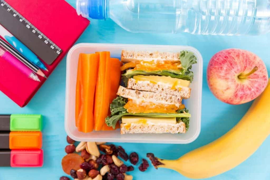 Healthy lunchbox for a child with sandwich and veggies with an apple and banana with dried fruit and nuts