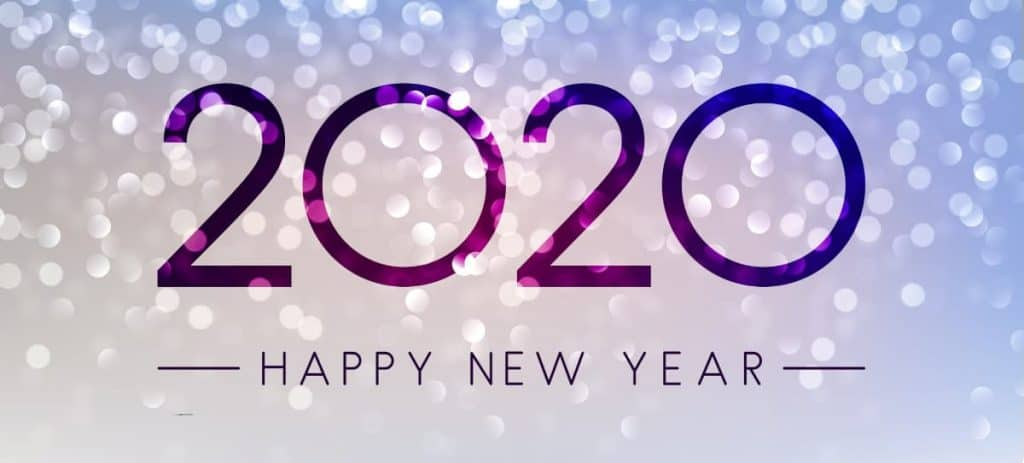 2020 and Happy New Year on a banner