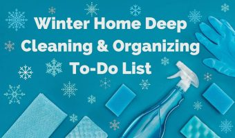 Cleaning supplies with snowflakes for a winter cleaning theme