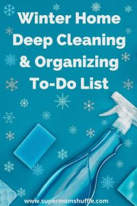 cleaning supplies and snowflakes for a winter cleaning theme