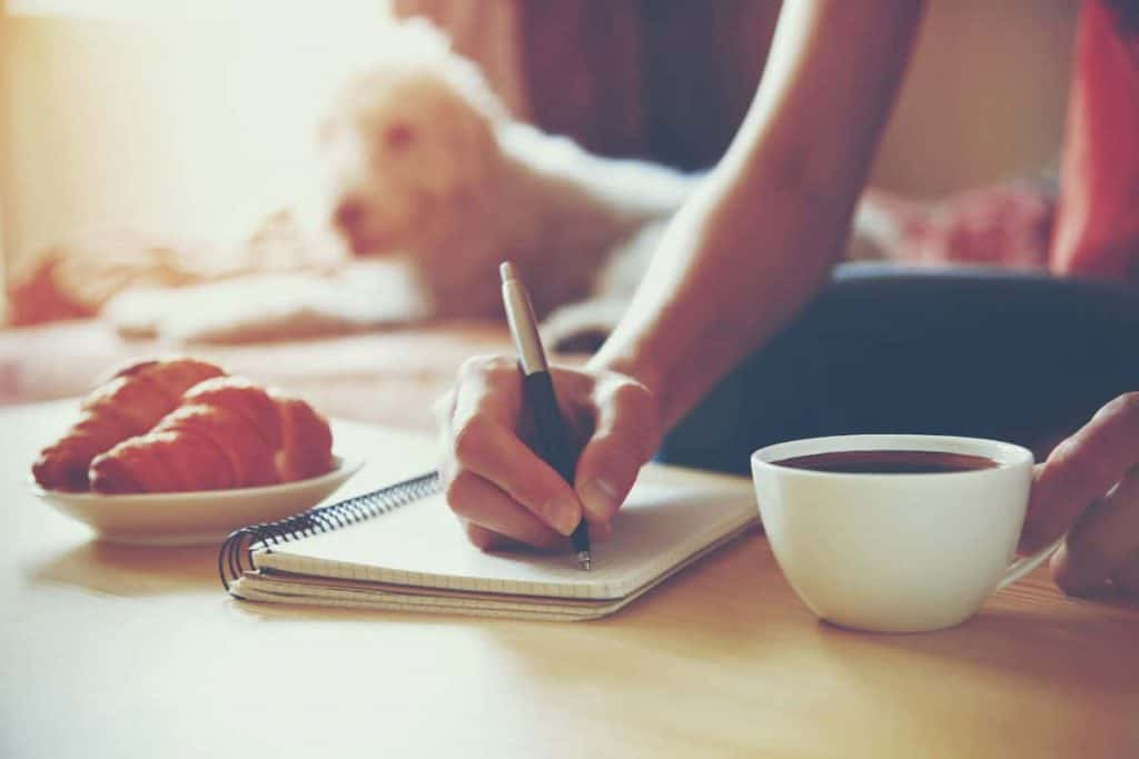 Woman at coffee table with a plate of croissant, journal and coffee writing in the journal with an inkpen