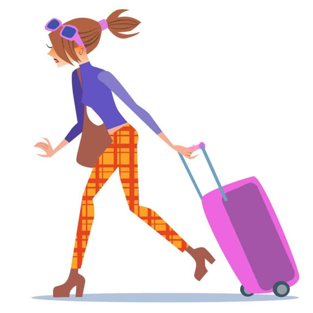 cartoon woman traveling and pulling a suitcase