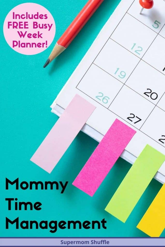 Calendar with post it notes attached and a pencil for busy week planning