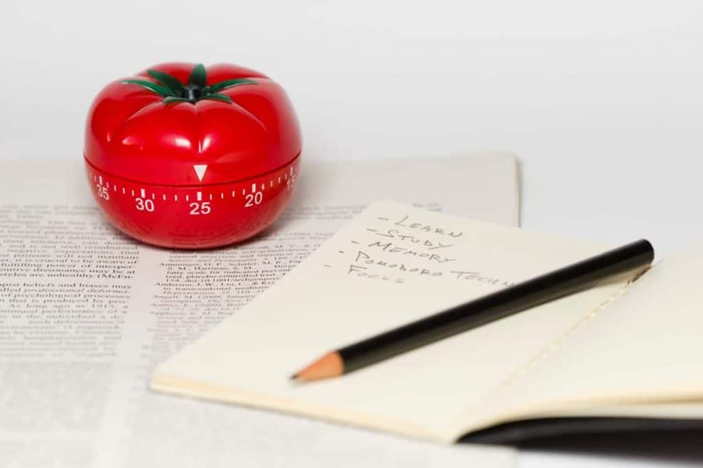 Red tomato kitchen timer sitting on a book along with an open notebook with pencil with notes scribbled for mommy time management planning