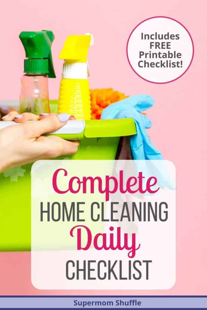 woman holding green tub of cleaning supplies for her daily home cleaning