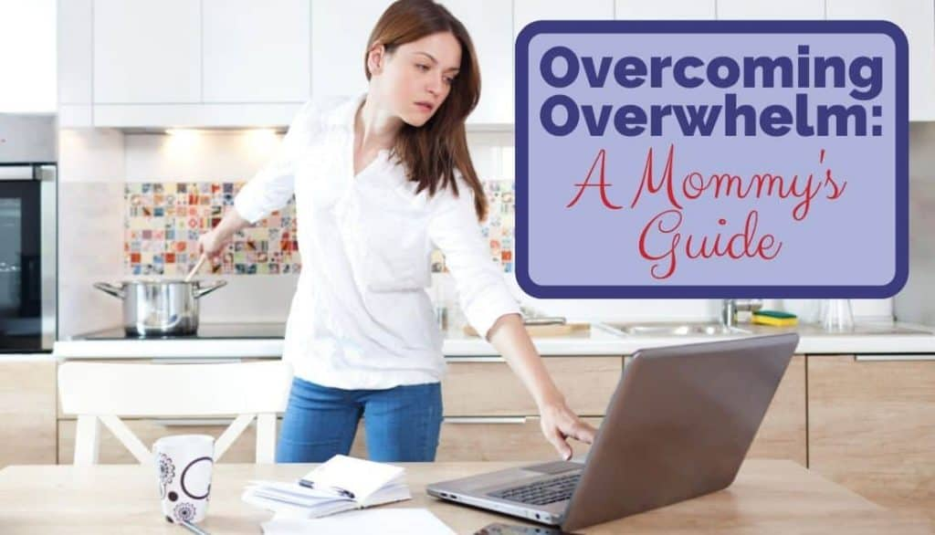 busy overwhelmed mom working on computer and cooking at same time