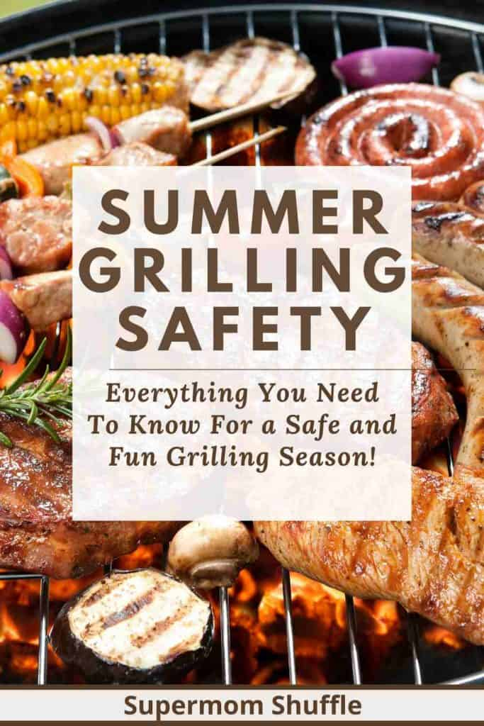 Meat and veggies cooking safely on the grill